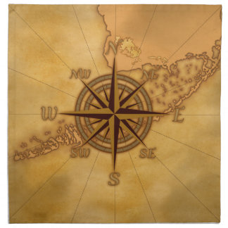 Antike Art-Kompass-Rose Serviette