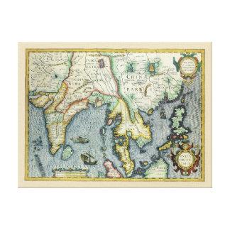 Antike asiatische Karte des 17. Jahrhunderts, Leinwanddruck