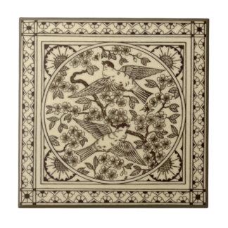 Antike ästhetische japanische Sepia-Vogel-Fliese Keramikfliese