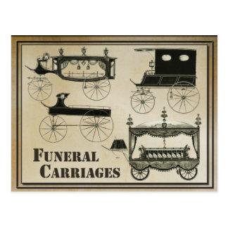 Antike Begräbnis- Wagen Postkarte