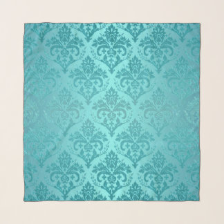 Antike beunruhigter Blick-Aqua-Damast-Druck-Schal Schal