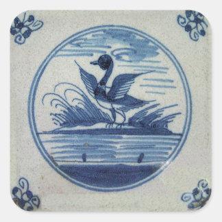 Antike blaue Fliese Delfts - Ente im Wasser Quadratischer Aufkleber