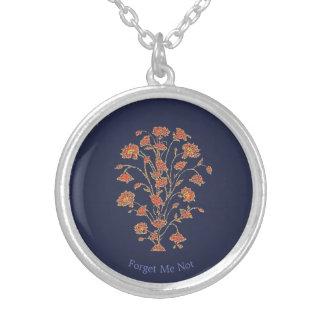 Antike Blumenkunst Versilberte Kette