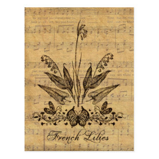 Antike botanische französische Lilien Postkarte