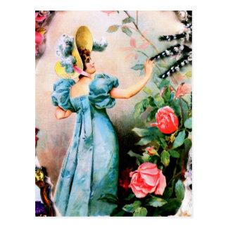 Antike Damenfrauen-Rosen-Blumen Postkarten