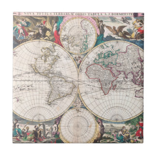 Antike Doppelt-Hemisphäre Weltkarte Fliese