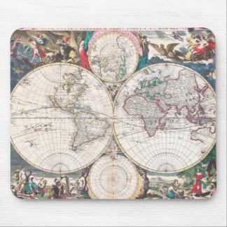 Antike Doppelt-Hemisphäre Weltkarte Mousepad