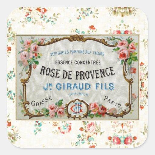 Antike französische Rosen-Anzeige Quadrataufkleber
