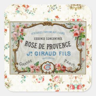Antike französische Rosen-Anzeige Quadratischer Aufkleber