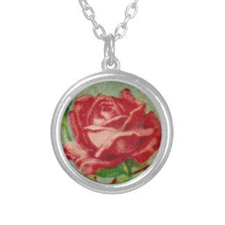 Antike französische Rosen-Halskette Halskette Mit Rundem Anhänger