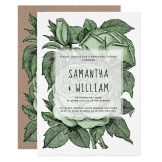 Antike grüne Rosen, die Probenabendessen wedding Karte