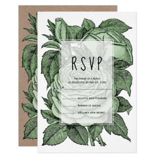 Antike grüne Vintage Hochzeit der Rosen Karte