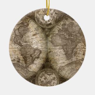 Antike historische Welts-Atlas-Karten-Kontinente Rundes Keramik Ornament