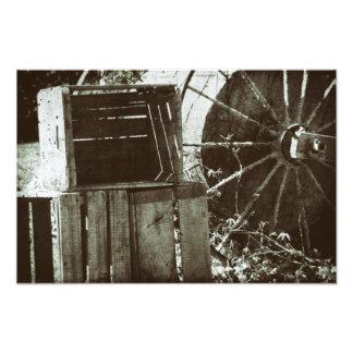 Antike hölzerne Kisten-Vintage Rad-Bauernhof-Kiste Fotodruck