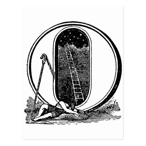 Antike Kalligraphie-Freimaurersymbol-Buchstabe O Postkarten