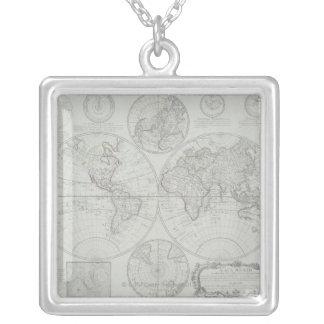Antike Karte 2 Halskette Mit Quadratischem Anhänger