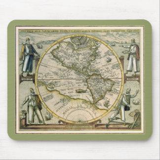Antike Karte, Amerika Sive Novus Orbis, 1596 Mousepad
