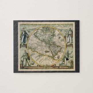 Antike Karte, Amerika Sive Novus Orbis, 1596 Puzzle