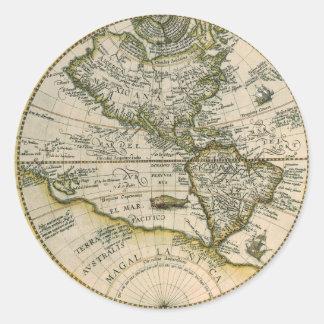 Antike Karte, Amerika Sive Novus Orbis, 1596 Runder Aufkleber
