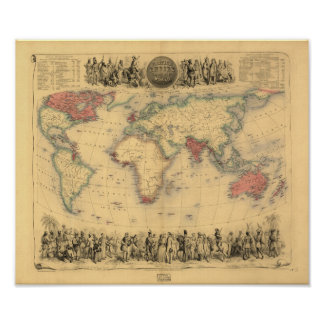 Antike Karte - das Britische Imperium 1850 Poster
