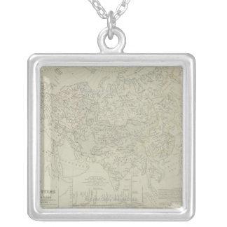 Antike Karte der Fluss-Systeme Halskette Mit Quadratischem Anhänger
