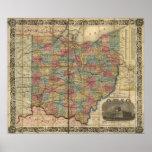 Antike Karte der Schienen-1854 von Ohio Posterdruck