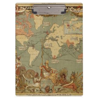 Antike Karte der Welt Klemmbrett