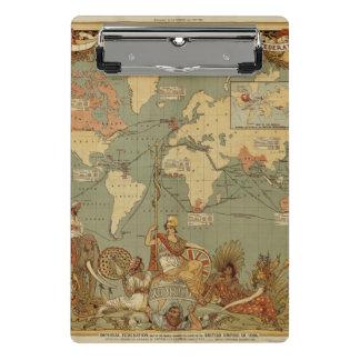 Antike Karte der Welt Mini Klemmbrett