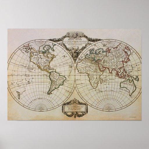 Antike Karte der Welt Poster