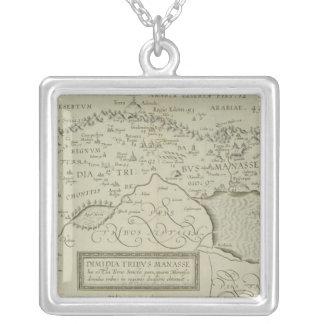 Antike Karte des Heiligen Landes Halskette Mit Quadratischem Anhänger
