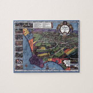 Antike Karte, LuftStadt Los Angeles Kalifornien Puzzle