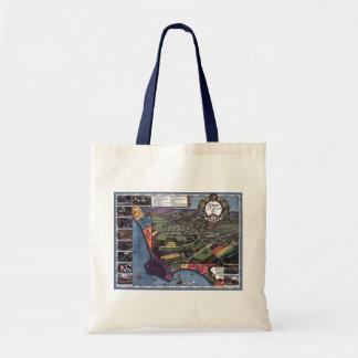 Antike Karte, LuftStadt Los Angeles Kalifornien Tragetasche