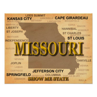 Antike Karte Missouris Poster