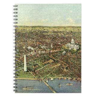Antike Karte, Panoramablick des Washington DC Notizblock