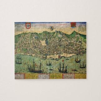 Antike Karte, Stadtplan von Lissabon, Portugal, Puzzle