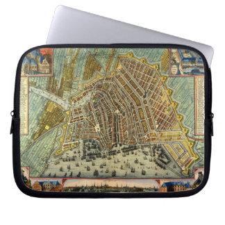Antike Karte von Amsterdam, Holland die alias Laptopschutzhülle