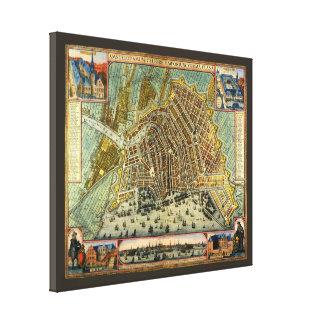 Antike Karte von Amsterdam, Holland die alias Leinwanddruck