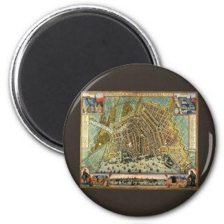 Antike Karte von Amsterdam, Holland die alias Runder Magnet 5,7 Cm