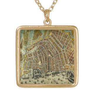 Antike Karte von Amsterdam, Holland die alias Vergoldete Kette