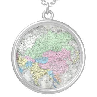 Antike Karte von Asien circa 1800s Halskette Mit Rundem Anhänger