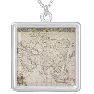 Antike Karte von Asien Versilberte Kette