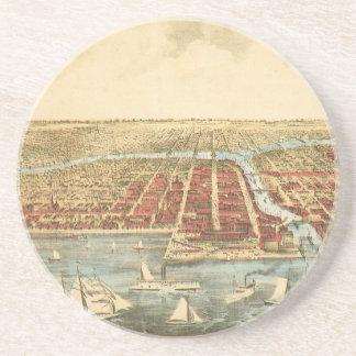 Antike Karte von Chicago, von LaSalle Straße und Sandstein Untersetzer