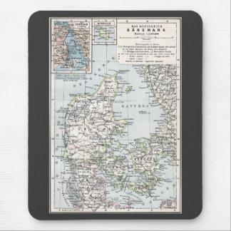 Antike Karte von Dänemark, Danmark auf Danish, Mousepads