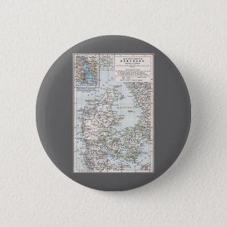 Antike Karte von Dänemark, Danmark auf Danish, Runder Button 5,1 Cm