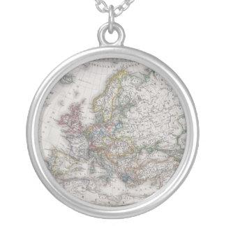 Antike Karte von Europa circa 1862 Halskette Mit Rundem Anhänger