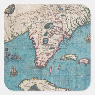 Antike Karte von Florida und von Kuba Quadratischer Aufkleber