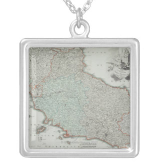 Antike Karte von Lazio, Italien Versilberte Kette