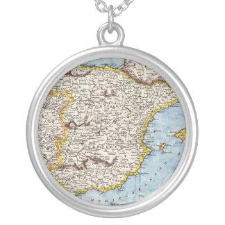 Antike Karte von Spanien u. von Portugal circa Halskette Mit Rundem Anhänger
