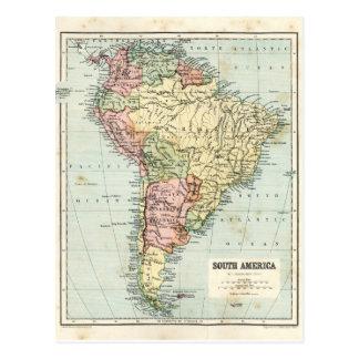Antike Karte von Südamerika Postkarte