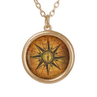 Antike Kompass-Rose Halskette Mit Rundem Anhänger